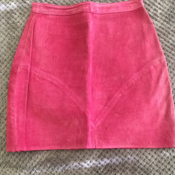 Vintage Dresses & Skirts - Vintage Raspberry Leather Suede Skirt
